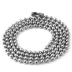 50pcs Nickel Plated Ball Chain Necklace, 24 Inches Long 2.4m