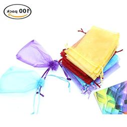 IDS 100 Pieces Organza Gift Bags Mixed Colors Wedding Party