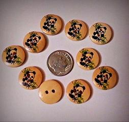 "Lot of 10 PANDA IN BAMBOO 2-hole Wood Buttons 5/8""  Scrapboo"