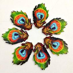 peacock feather wooden buttons diy