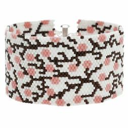 Beadaholique Peyote Bracelet - Cherry Blossom in White - Exc