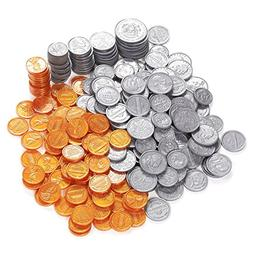 Pack of 250 Play Coin Set - Includes 10 Half-Dollars, 40 Qua
