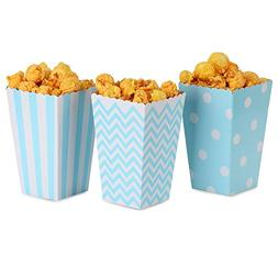 NUIBY Popcorn Boxes, Blue Trio  Polka Dot, Chevron, Stripe t