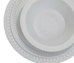 Premium Reflective Plastic Wedding Plates - Bulk Pack - Oval