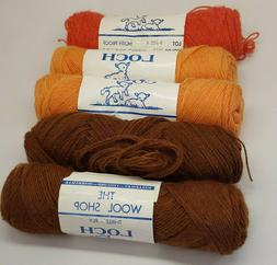 RARE 5 Assorted Skeins Vintage Wool Shop 3 Ply Loch Shetland