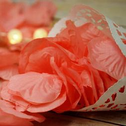 Roseate / Pink Coral Silk Rose Petals Confetti for Weddings