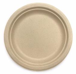 "9"" in Round Disposable Plates - Natural Sugarcane Bagasse B"