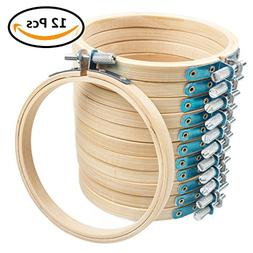 12 Pcs 4 Inch Round Embroidery Hoop Bulk Set, ABUFF Bamboo