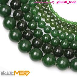 "Round Stone Dark Green Jade Beads For Jewelry Making 15"" Jew"