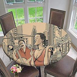 Mikihome Round Table Tablecloth Decor an Jazz Singer with Do