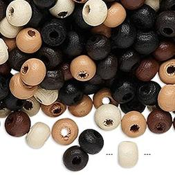 90 Grams Round Wooden Beads for Jewelry Making, Supply for D