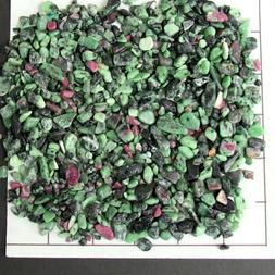 RUBY IN ZOISITE CHIPS 4-12mm semi-tumbled 1/2 lb bulk stones