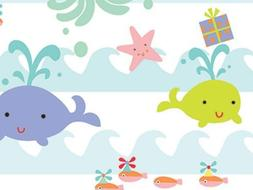 SEA BABIES Baby Girl or Boy Gift Wrap Wrapping Paper 16 Foot