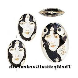 3 Piece Set Cloisonn_ Black White Gold Woman Beads for Jewel
