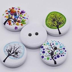Mega Shop - Sewing Wood Craft Buttons - Size 12 mm with 2 Ho