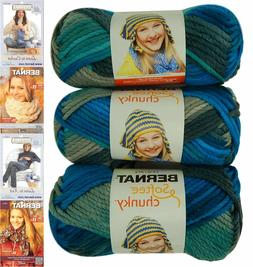 Bernat Softee Chunky Yarn Bundle Super Bulky No. 6, 3 Skeins