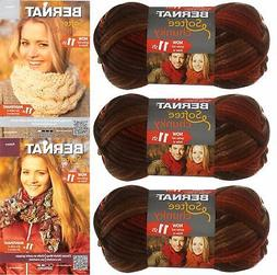 Bernat Softee Chunky Yarn Bundle Super Bulky 6, 3 Skeins, Te