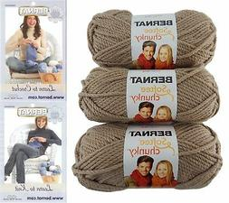 Bernat Softee Chunky Yarn Bundle Super Bulky #6, 3 Skeins, S