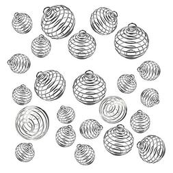 JIALEEY Spiral Bead Cages Pendants, 30 PCs 3 Sizes Silver Pl