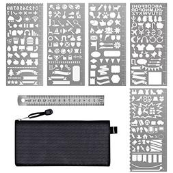 Paxcoo 6 Pcs Stainless Steel Journal Stencils with Template