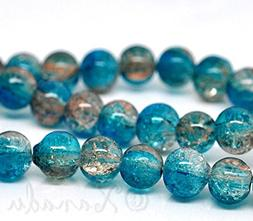 Teal Coffee Wholesale 8mm Round Crackle Glass Beads G2228-50