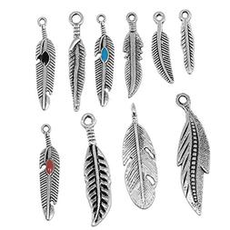 RUBYCA 30PCS Tibetan Silver Color Mix Feather Pendants Charm