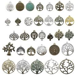100g Tree of Life Charms Collection - Mixed Antique Gold Sil