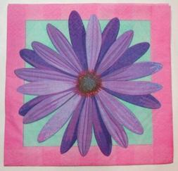 TWO  Paper Dinner Napkins Decoupage Floral PURPLE DAISY In B