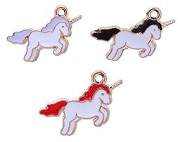 Unicorn Charm Pendants 60 Pack, Gold Tone With Enamel, 7/8 I