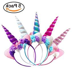 Zeekoo Unicorn Party Supplies Set,Baby Unicorn Horn Headba