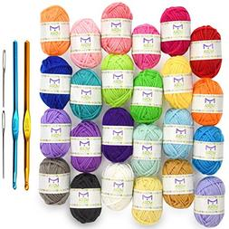 Mira Handcrafts 24 Acrylic Yarn Bonbons | Total of 525 yards