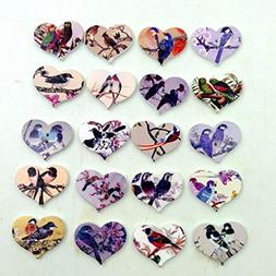 50Pcs Vintage Bird Flower Heart Printing Wooden Buttons 2-Ho