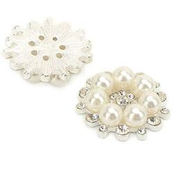 Wholesale 12 PCS Vintage Flatback Faux Pearl Flower Buttons