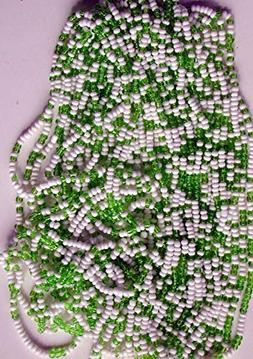 Vintage Green and White Glass 110 Round Seed Beads 51grams X