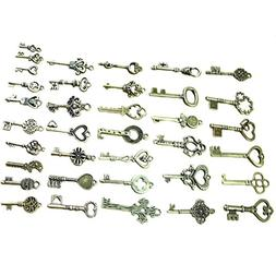 Buytra 40 Pack Vintage Skeleton Keys Charms in Antique Bronz
