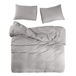 Wake In Cloud - Washed Cotton Duvet Cover Set, Yarn Dyed Pla