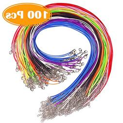 HYBEADS Assorted 20 Imitation Leather Cord Necklaces mixed colors 18 Inch Lobster Claw Clasp
