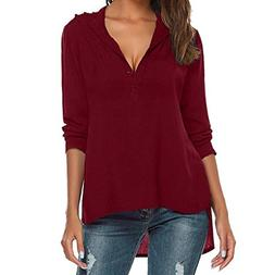 Womens Fashion V-Neck Long Sleeve Blouse Pure Color Casual L